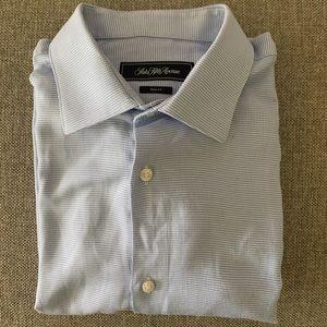 Men's Slim Blue/White Button Up Shirt